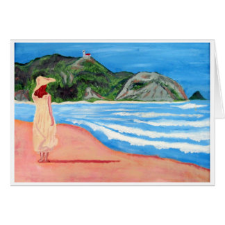Chica en notecards de la playa tarjeta pequeña