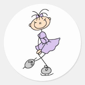 Chica en pegatina del patinador de hielo de la lil