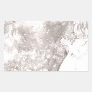 Chica en prado pegatina rectangular