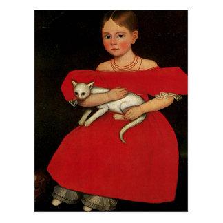 Chica en rojo con su gato y perro postales
