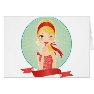 Chica en rojo tarjeta de felicitación