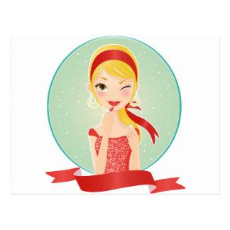 Chica en rojo postales