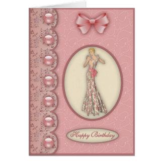 Chica en rosa - tarjeta del encanto de cumpleaños