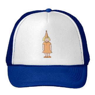 Chica en sombrero anaranjado del vestido y de la f gorros