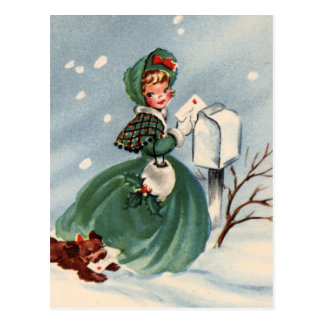 Chica en tarjetas de Navidad de envío de la capa v Tarjeta Postal
