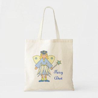 Chica en traje de hadas azul y amarillo bolsa tela barata