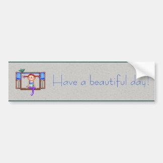 Chica en un arte del pixel del travesaño de la pegatina para auto