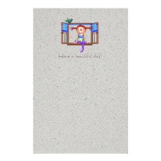 Chica en un arte del pixel del travesaño de la papelería personalizada