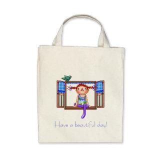 Chica en un arte del pixel del travesaño de la ven bolsas lienzo