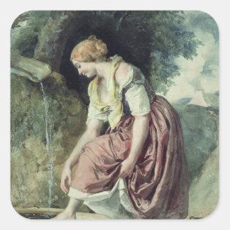 Chica en un conducto pegatina cuadrada