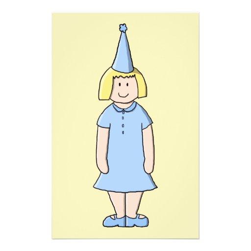 Chica en un equipo azul claro de la fiesta de cump flyer a todo color