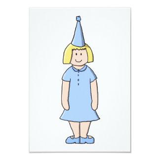 """Chica en un equipo azul claro de la fiesta de invitación 3.5"""" x 5"""""""