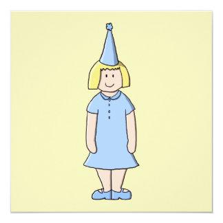 """Chica en un equipo azul claro de la fiesta de invitación 5.25"""" x 5.25"""""""