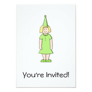 """Chica en un equipo verde del cumpleaños invitación 5"""" x 7"""""""