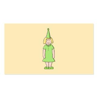 Chica en un equipo verde del cumpleaños tarjeta de visita