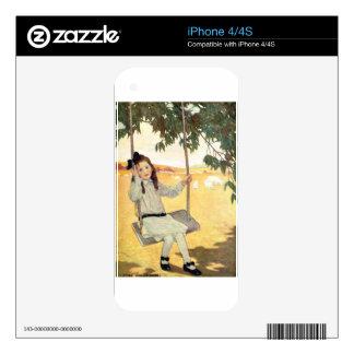 Chica en un oscilación skins para eliPhone 4