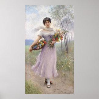 Chica en un vestido Lila-Coloreado - poster