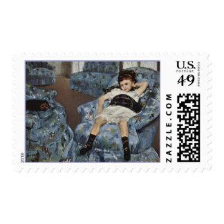 Chica en una silla azul, sellos de Mary Cassatt