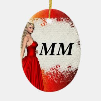 Chica en vestido rojo adorno navideño ovalado de cerámica