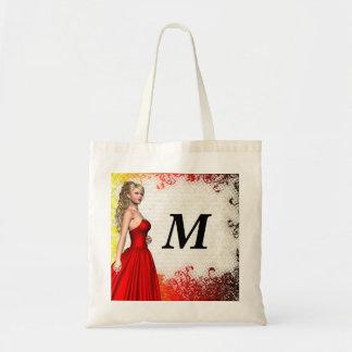 Chica en vestido rojo bolsa