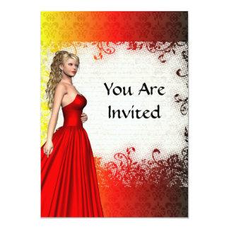 Chica en vestido rojo comunicado