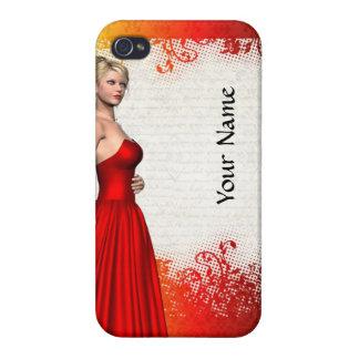 Chica en vestido rojo iPhone 4 carcasa