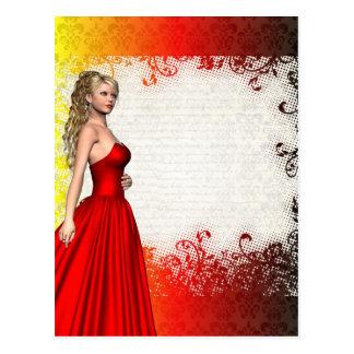 Chica en vestido rojo postal