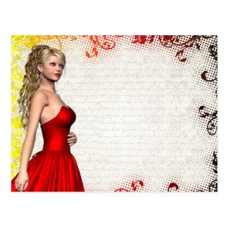 Chica en vestido rojo postales