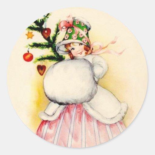 Chica encantador del navidad pegatinas redondas