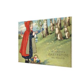 Chica encapuchado rojo que da los huevos a los con impresión en lona estirada