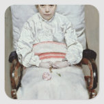 Chica enfermo pegatina cuadrada