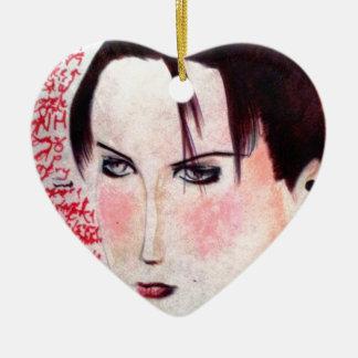 Chica enojado adorno navideño de cerámica en forma de corazón