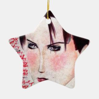 Chica enojado adorno navideño de cerámica en forma de estrella