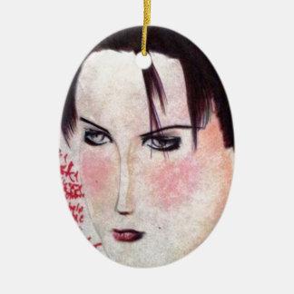 Chica enojado adorno navideño ovalado de cerámica