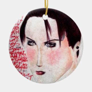 Chica enojado adorno navideño redondo de cerámica