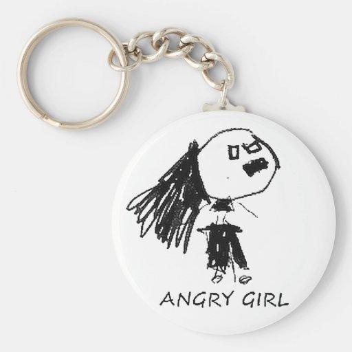 Chica enojado llavero redondo tipo pin
