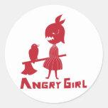 Chica enojado pegatina redonda