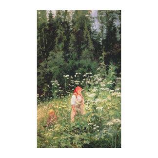 Chica entre las flores salvajes, 1880 impresiones de lienzo
