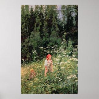 Chica entre las flores salvajes, 1880 póster