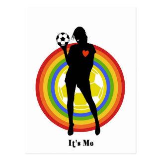 chica, es yo, jugador de fútbol y fans grandes postales