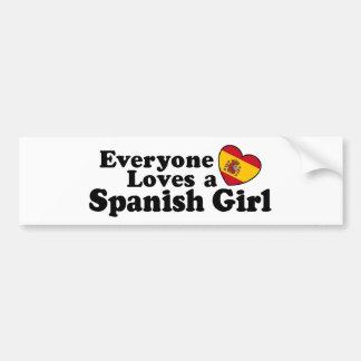Chica español etiqueta de parachoque