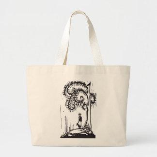 Chica espiral del árbol bolsa tela grande
