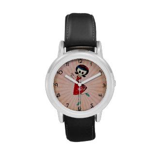 Chica esquelético dulce y asustadizo relojes de mano