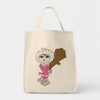 Chica esquimal con el club bolsas lienzo