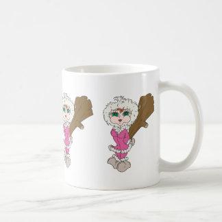 Chica esquimal con el club tazas de café