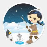 Chica esquimal etiqueta
