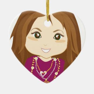 Chica estropeado adorno navideño de cerámica en forma de corazón