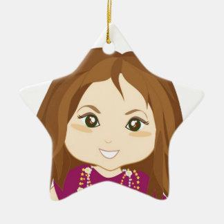 Chica estropeado adorno navideño de cerámica en forma de estrella