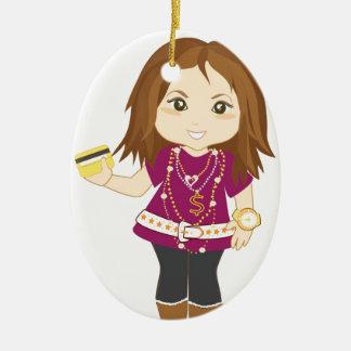 Chica estropeado adorno navideño ovalado de cerámica