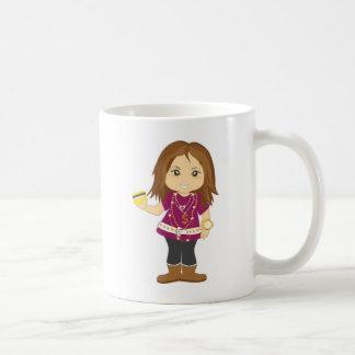 Chica estropeado taza básica blanca